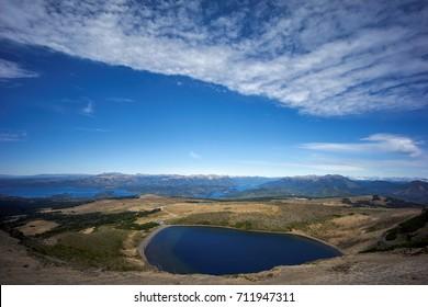 Batea Mahuida volcano crater, on Patagonia, Argentina, Villa Pehuenia