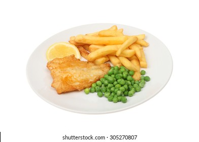 baterred fish, chips and peas with a wedge of lemon on a plate isolated against white