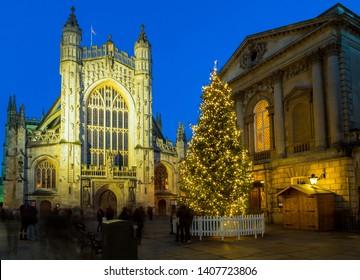 Bath Abbey at night Christmas, UK