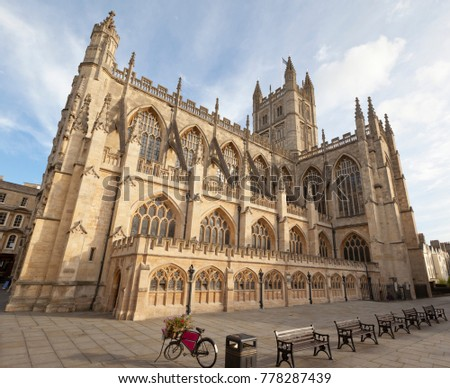 Bath Abbey in Bath, Somerset. Wide angle distortion.