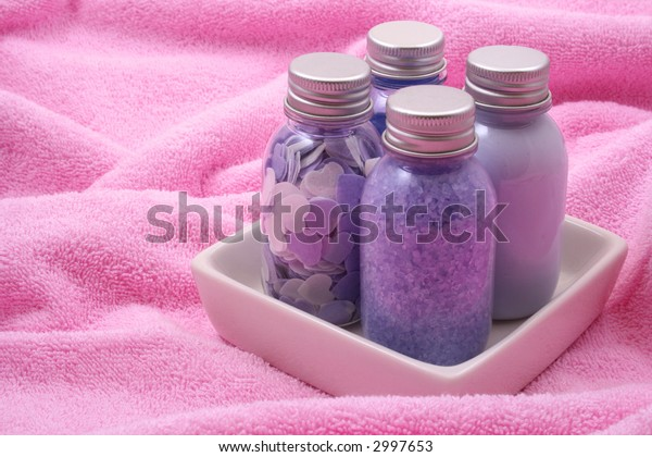 bath accessories on towel - body care