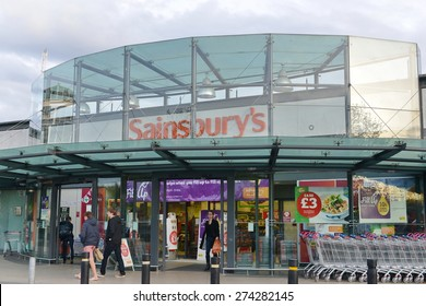 BATH - APR 28: Shoppers visit a Sainsbury's supermarket on a city centre street on Apr 28, 2015 in Bath, UK. Founded in 1869 Sainsbury's currently enjoys a 17% share in the UK's supermarket sector.
