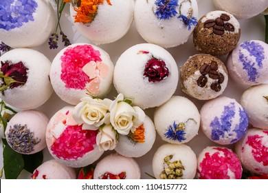 bath bombs on a white acrylic background