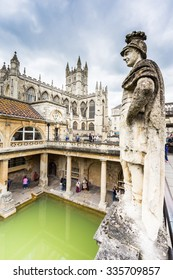 Bath city, England - MAY 3 : Roman baths interiors pictured on May 3, 2015 in Bath city, England. It was featured on a 2005 TV program Seven Natural Wonders as one of the wonders of the West Country.