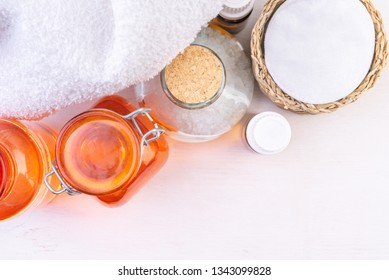 Bath cosmetic and Accessories on wooden background