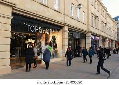 BATH - DEC 8: People walk through Southgate shopping district on Dec 8, 2014 in Bath, UK. The landmark Somerset city is home to many local and international stores and shops.