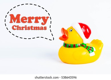 "bath duck with callout symbol and message  ""merry christmas""  on white background"