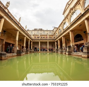 BATH, ENGLAND - APRIL 20, 2017: the Roman Baths in Bath, England.