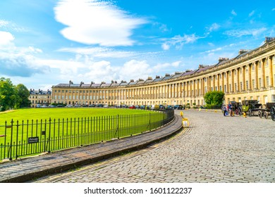 Bath ,England - AUG 30 2019 : The famous Royal Crescent at Bath Somerset England, United Kingdom.