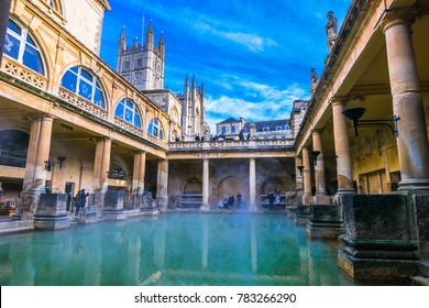 Bath, England - December 10 2017: Steaming Roman Baths in winter