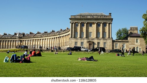 BATH / ENGLAND - JULY 02 2016: People Resting at Park in Front of Royal Crescent