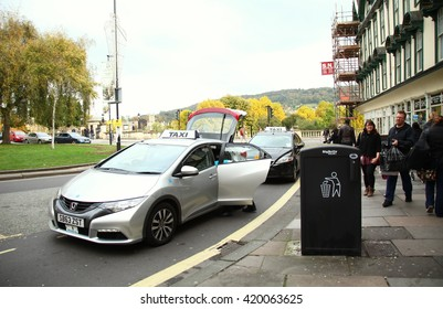 BATH, ENGLAND - OCT, 18: The new and modern japanese car taxi on bath town scene on October 18, 2015 in Bath Somerset  England.
