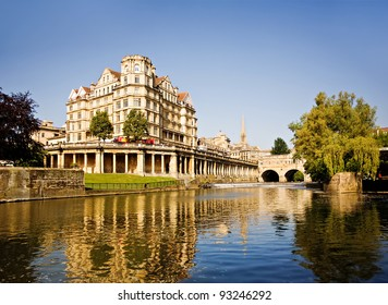 Bath, England. View of Pulteney Bridge River Avon at sunset.