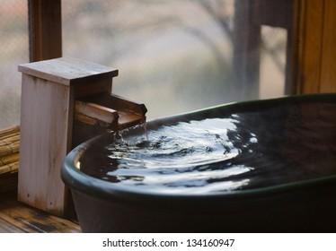Bath at Japanese open air hot spring