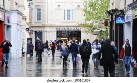 BATH - MAY 1: Shoppers walk through the newly opened Southgate commercial district on May 1, 2014 in Bath, UK. With 37,000 sq metre of retail space Southgate is home to over 50 shops and outlets.