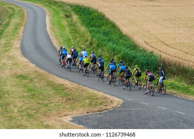 BATH - THE NETHERLANDS - JULY 3: A group of cyclists near the Westerschelde by Bath on July 3, 2018