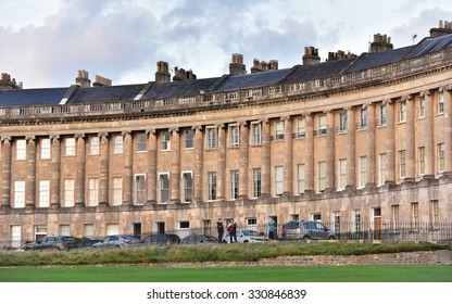 BATH - OCT 20: View the landmark Royal Crescent bathed in warm evening sunlight on Oct 20, 2015 in Bath, UK. Bath is a UNESCO World Heritage city receiving over 4.5 million visitors per year.