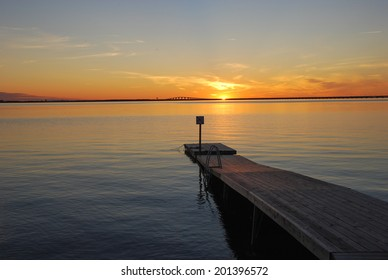Bath pier at sundown on the island Oland in Sweden.
