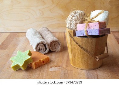 Bath products with handmade soap, towels