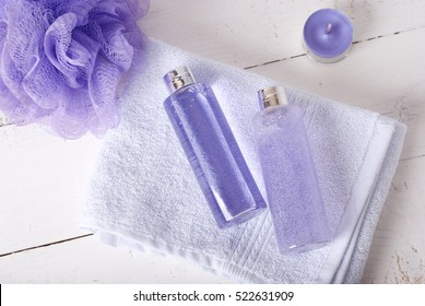 bath products on white background