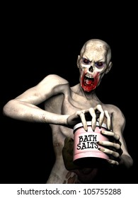 Bath Salt Zombie: An undead zombie opening a jar of bath salts.