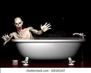 Bath Salt Zombie: An undead zombie taking a bath salt bath.
