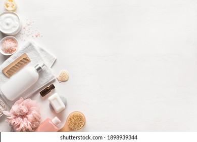 Bath and Skin Care Accessories on white background, top view, copy space. Daily natural organic bodycare concept,  bath products.