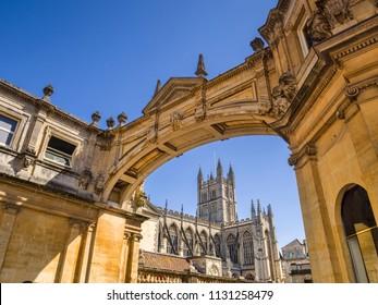 Bath, Somerset, England, UK - Bath Abbey seen through the York Street Arch.