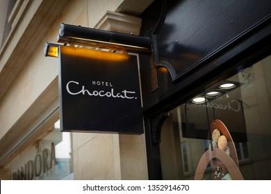 Bath, Somerset, UK, 22nd February 2019, Shop Sign for Hotel Chocolat