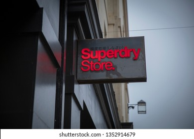 Bath, Somerset, UK, 22nd February 2019, Shop Sign for Superdry Store
