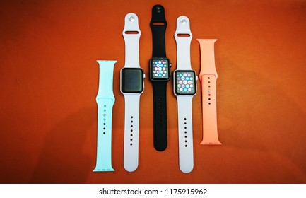 Bath, Somerset, UK Sept 2018. Apple watch display on new store in Bath UK various coloured and leather wrist bands for 2018.