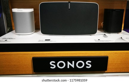 Bath, Somerset, UK, Sept 2018. Sonos sound system, white and black speakers. 2018 release.