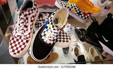 Bath, Somerset, UK, Sept 2018. Van's sneakers/trainers multi-colored 2018 season.