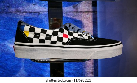 Bath, Somerset, UK, Sept 2018. Van's sneakers/trainers black and white chequered pattern 2018 season.