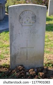 Bath, Somerset, United Kingdom - September 09 2018. CWGC war Graves at Locksbrook Cemetery, Bath