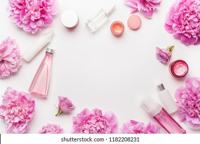 bath and spa flat lay, peony flowers skin care products