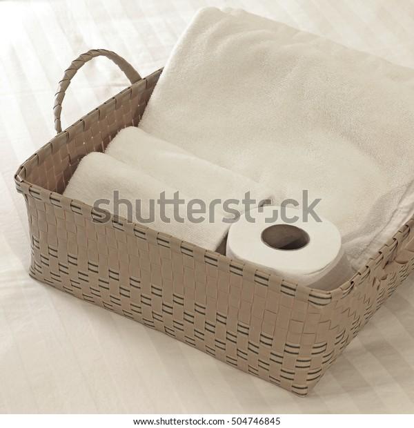 Bath Towels Toilet Paper Basket Stock Photo Edit Now 504746845
