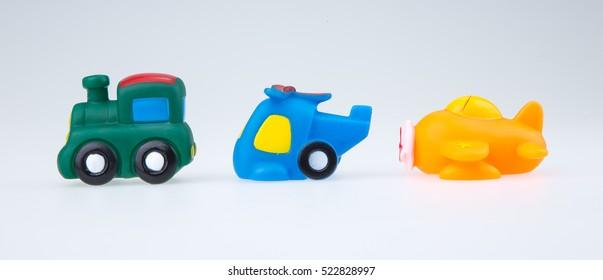 bath toys isolated on white background