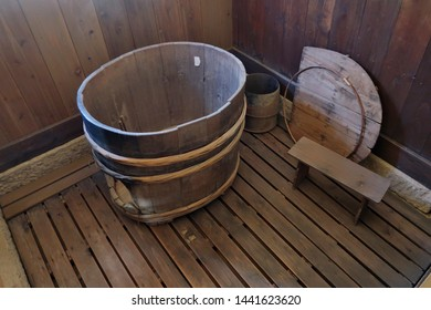 A bath tub in an old Japanese house