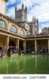 Bath, UK - 10th August 2018: Constructed in around 70AD as a grand bathing and socialising complex, the Roman Baths is one of the best-preserved Roman remains in the world