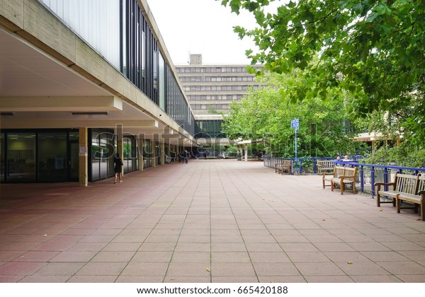 BATH, UK -11 SEP 2016- The campus of the University of Bath in Somerset, England. Bath, a public research and teaching university, was named best student experience in the UK in 2015.