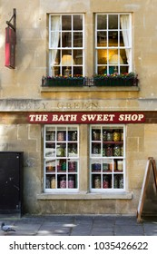 Bath, UK - 19th June 2011: Old fashioned jars of sweets in the windows of The Bath Sweet Shop in the City of Bath, Somerset, UK. Bath is a UNESCO World Heritage Site famous for it's architecture