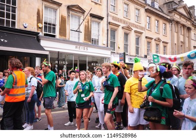 Bath, UK - 21 July 2018: A band take part in the Bath Carnival where the famous Somerset city of Bath