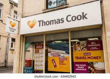 Bath, UK - April 2017: Thomas Cook store, a local UK high street travel agency. Thomas Cook Group plc is a British global travel company listed on the London Stock Exchange.