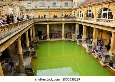 BATH, UK   AUGUST 24, 2017: Tourists Visiting Inside Roman Baths Complex.