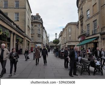 BATH, UK - CIRCA SEPTEMBER 2016: Tourists visiting the city of Bath