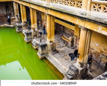 BATH, UK - CIRCA SEPTEMBER 2016: HDR Roman Baths ancient spa