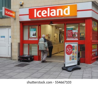 BATH, UK - CIRCA SEPTEMBER 2016: Iceland supermarket store front