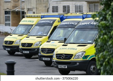 BATH, UK - FEBRUARY 10, 2015: Ambulances wait on standby at the Royal United Hospital as junior doctors go on strike for 24 hours in opposition to a government plan to introduce new contracts.
