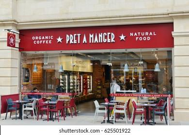 Bath, UK - March 6, 2017: People dine in a Pret A Manger sandwich shop.